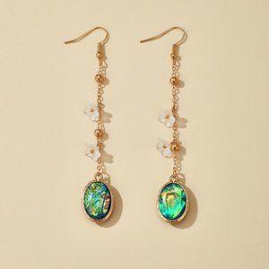 3/$20 New Gold & Green Long Dangle Earrings